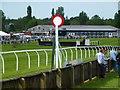 TF9228 : The winning post at Fakenham Racecourse, Norfolk by Richard Humphrey
