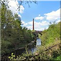 SJ9398 : River, viaduct and chimney by Gerald England