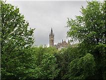 NS5766 : Kelvingrove Park treetops, view to University of Glasgow by David Hawgood