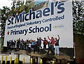 SZ0891 : St Michael's Primary School nameboard, Bournemouth by Jaggery