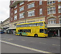 SZ0891 : Yellow double-decker bus in Bournemouth town centre by Jaggery