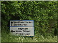 TM1152 : Roadsign on the B1113 Lower Street by Adrian Cable