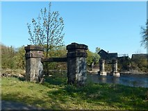 NS3979 : Piers of the demolished Black Bridge by Lairich Rig