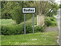 TM0855 : Badley Village Name sign on the B1113 Stowmarket Road by Adrian Cable