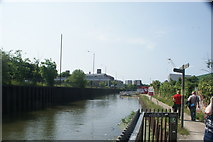 TQ3783 : View back up the River Lea from the temporary floating path by Robert Lamb