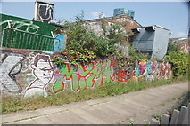 TQ3783 : View of street art on the River Lea towpath #4 by Robert Lamb
