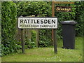 TL9759 : Rattlesden Village Name sign on Lower Road by Adrian Cable