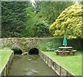 SP0315 : The River Coln flowing through the Mill Inn's garden by Rob Farrow