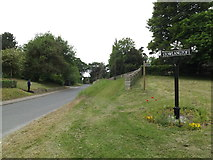 TL9568 : The Street & Stowlangtoft Village sign by Geographer