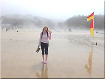 SW8162 : Sea mist developing on Tolcarne Beach, Newquay, Cornwall by Gary Rogers