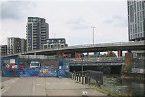 TQ3783 : River Lea (or Lee) at Bow Interchange, Stratford by David Kemp
