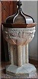 SX1156 : St. Winnow, St. Winnow Church: The granite font 2 by Michael Garlick