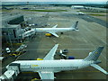 TQ2741 : A view from the Skybridge at Gatwick Airport by Richard Humphrey