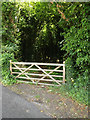 TM0749 : Wood entrance off Ipswich road by Geographer