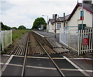 SS0699 : West Wales Line through Manorbier railway station by Jaggery