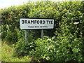 TM0946 : Bramford Tye Village Name sign on Tye Lane by Adrian Cable