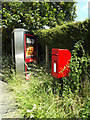 TM1246 : 2 Paper Mill Lane Postbox & Telephone Box by Adrian Cable