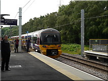 SE2436 : The first Leeds-bound train leaves Kirkstall Forge Station by Rich Tea