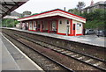 SW7042 : Red and white building on platform 1, Redruth railway station by Jaggery