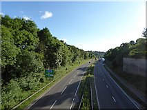 SJ8542 : A500 westwards from road bridge by Jonathan Hutchins