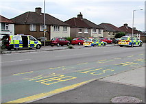 ST3090 : Collision Investigation Unit van and two police cars, Malpas Road, Newport by Jaggery