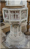 TG1020 : Font, St Mary's church, Great Witchingham by Julian P Guffogg