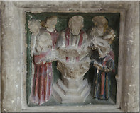 TG1020 : Font detail, St Mary's church, Great Witchingham by Julian P Guffogg