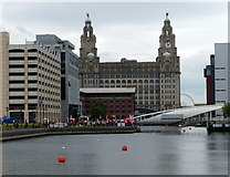 SJ3390 : Royal Liver Building and the Princes Dock by Mat Fascione