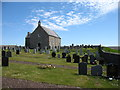 HU5565 : Whalsay Kirk and graveyard by David Purchase