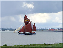 TQ7178 : Stormy weather: sailing-barge 'Cambria' in the Lower Hope by Stefan Czapski