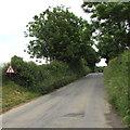 SS0698 : Warning sign - road narrows, B4585 Manorbier by Jaggery