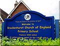 SU2901 : Brockenhurst Church of England Primary School nameboard by Jaggery