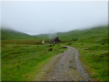 NN1364 : Approaching Tigh-na-sleubhaich on the West Highland Way heading into the clouds by John Allan