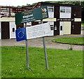 ST3588 : Wonky Ringland Centre Regeneration notice, Newport by Jaggery