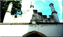 TQ1572 : Looking up at a gateway in the garden of Strawberry Hill House by Robert Lamb