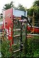 SJ5686 : Abandoned fridge, Fiddlers Ferry Sailing Club by Matt Harrop