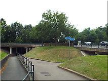 TQ2373 : Path and bridleway, Tibbett's Corner, near Putney Heath by Malc McDonald