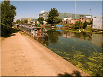 TQ2282 : Kingfisher, narrowboat on Paddington Branch canal by David Hawgood