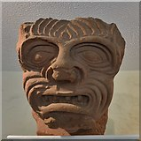 NY0265 : Caerlaverock Castle: A deeply carved demon's face staring at you in the tearoom by Michael Garlick