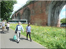 SO8455 : Arches and footpath at Croft Road Car Park by Clint Mann