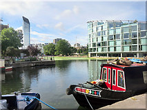 TQ3283 : Regents Canal at City Road Basin by Des Blenkinsopp