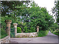 NY4159 : Gate piers at the entrance to Brunstock House by Rose and Trev Clough