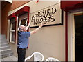 H4572 : Erecting the sign for Boneyard Records by Kenneth  Allen