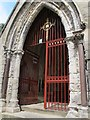 SE0926 : All Souls, Haley Hill, Halifax: porch gates by Stephen Craven