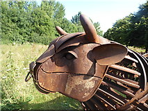 TR1457 : Bull sculpture, Tannery Field, Canterbury by pam fray