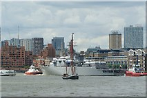 TQ3680 : View of Japanese battleship JDS Kashima (TV-3508) and a Thames barge passing near Canary Riverside by Robert Lamb