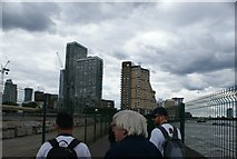 TQ3680 : View of buildings in Canary Wharf from Canary Riverside #3 by Robert Lamb