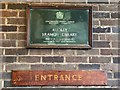 SJ7950 : Audley Public Library: plaque by Jonathan Hutchins