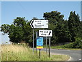 TM0487 : Roadsigns on Banham Road by Adrian Cable