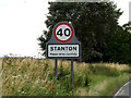 TL9773 : Stanton Village Name sign on the A143 Bury Road by Geographer